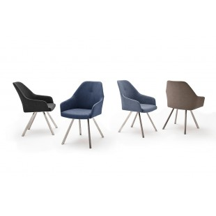 Krzesło MADI A  4 nogi stożkowe, stal szlachetna szczotkowana, ekoskóra