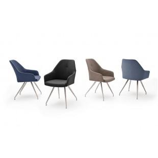 Krzesło MADI A  4 nogi owalne, stal szlachetna szczotkowana, ekoskóra