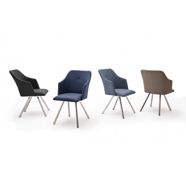 Krzesło MADI B  4 nogi stożkowe, stal szlachetna szczotkowana, ekoskóra