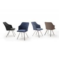 Krzesło MADI B  4 nogi stożkowe, stal szlachet szczot, ekoskóra