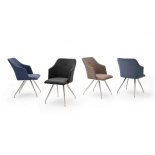 Krzesło MADI B  4 nogi owalne, stal szlachetna szczotkowana, ekoskóra