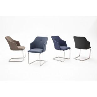 Krzesło MADI B  płoza, stal szlachetna szczotkowana, ekoskóra