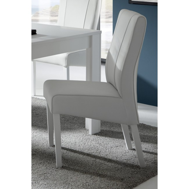 Włoskie krzesło SPINEL biały /dąb koniak