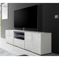 Włoska szafka RTV  SINIORA 02 biała - 181 / 42 / 57  cm