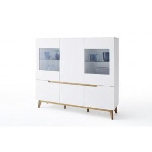 Kredens TARIO  lakier mat /nogi dąb 155/40/138 cm