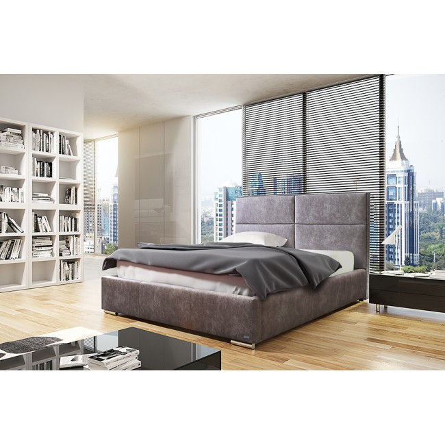 Białe łóżko tapicerowane MIKA -polibox