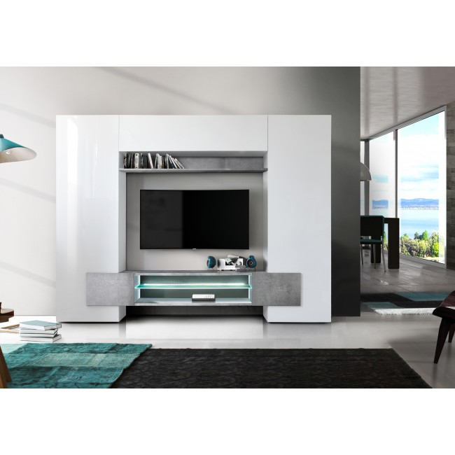 Włoska meblościanka ASTRA beton 258/37/143 cm