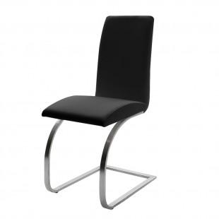Krzesło Maui - Ekoskóra czarna, stelaż stal szlachetna, szczotkowana.