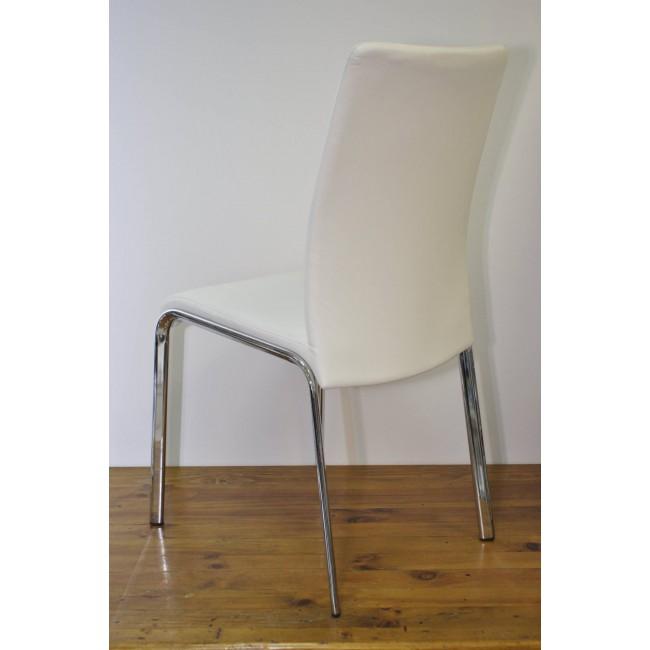 Krzesło Loco - Ekoskóra biała, stelaż chrom.