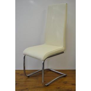 Krzesło Sarah - Ekoskóra kremo, stelaż chrom.