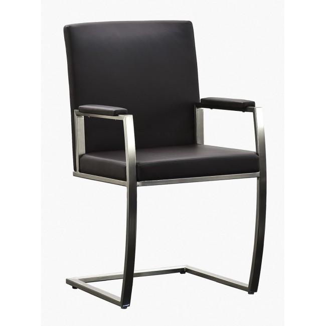 Krzesło Victoria - Ekoskóra czarna, stelaż stal szlachetna, szczotkowana.