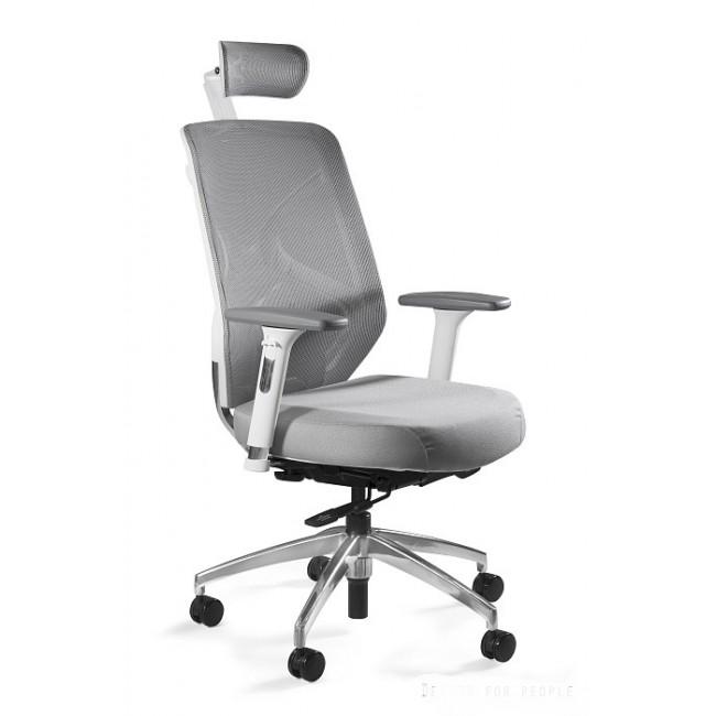 Fotel biurowy ERGO biało/szary siatka/tkanina
