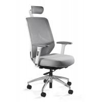 Fotele ERGO biało/szary siatka/tkanina