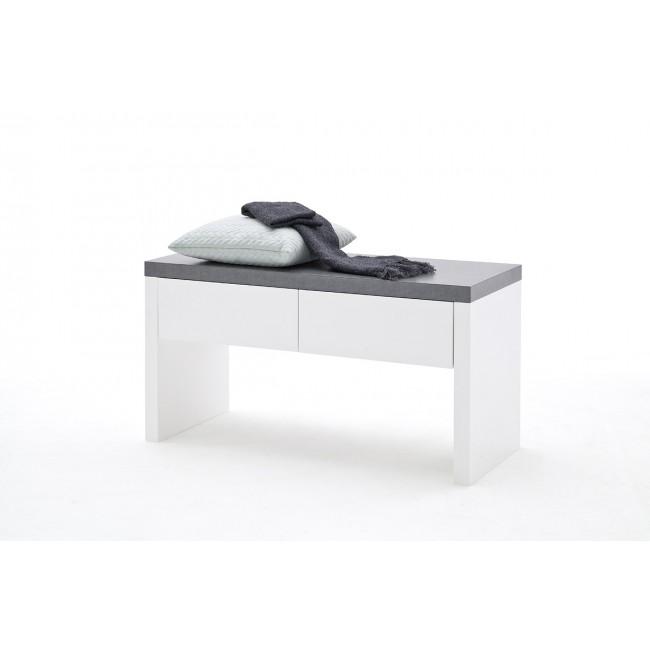 Ławka biała blat optyka betonu MALTA  91/38/48 cm