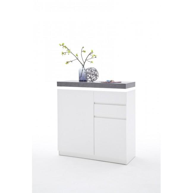 Szafka na buty biała blat optyka betonu MALTA  91/38/97 cm