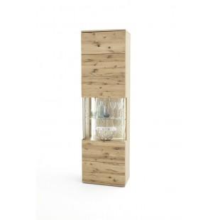 Witryna wąska prawa SANTORINI dąb olejowany bianco 60/37/208 cm