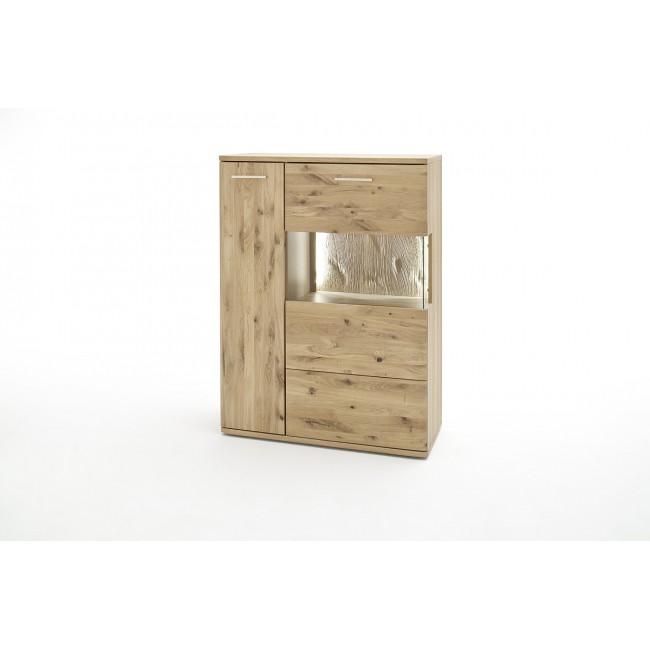 Kredens wąski lewy SANTORINI dąb olejowany bianco 90/37/122 cm