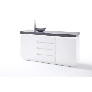 Komoda MALTA biała blat optyka betonu 150/40/80 cm
