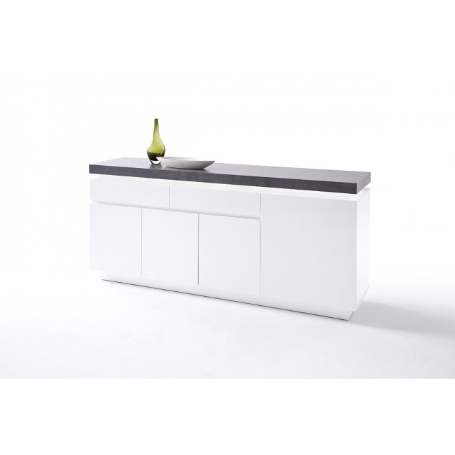 Komoda MALTA biała blat optyka betonu 175/40/80 cm