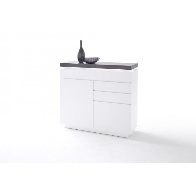 Komoda MALTA biała blat optyka betonu 120/40/113 cm