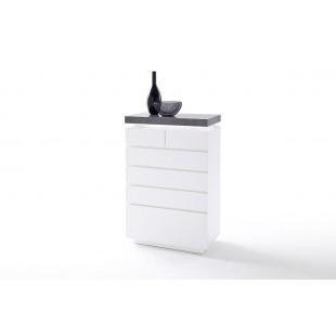 Komoda MALTA biała blat optyka betonu 73/40/113 cm
