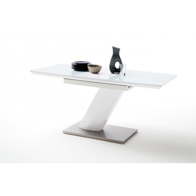 Stół Rozkładany Galia Lakier Biały Połysk Szkło Dwa Rozmiary