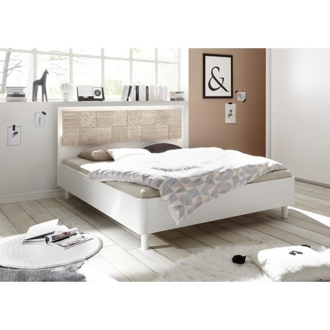 Łóżko włoskie XAVIER wezgłowie proste nadruk dąb sonoma 160/200 lub 180/200