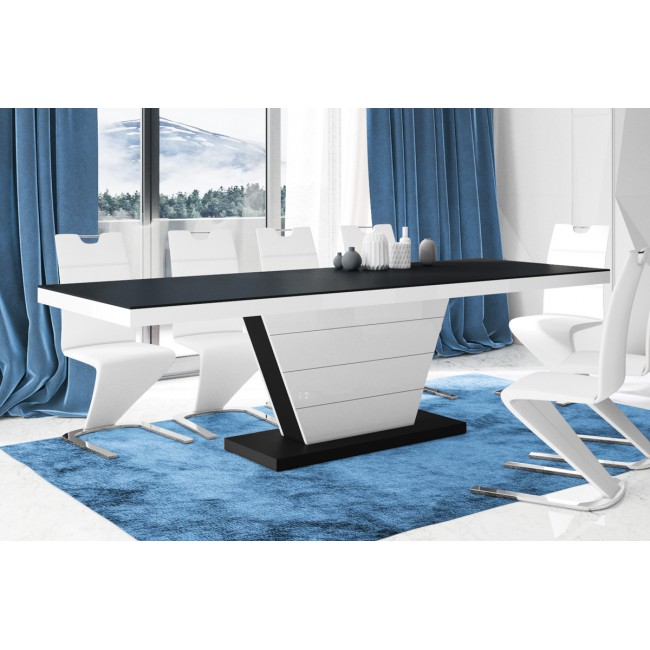 Stół rozkładany WERA czarny 160-208-256/89/75 cm