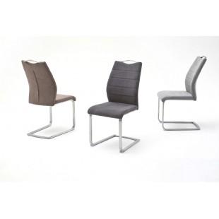 Krzesło na płozie FERRARI stal szlachetna trzy kolory tkaniny