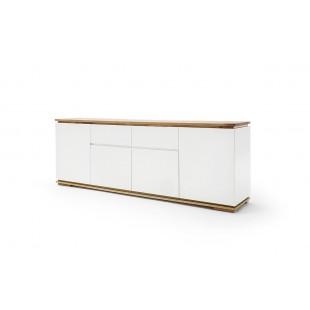 Ekskluzywna biała komoda ARON drewniany blat 182 cm
