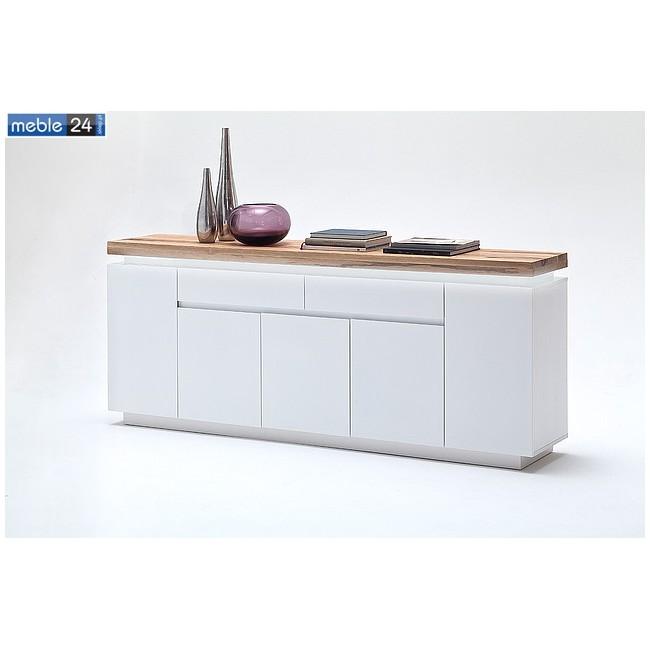 Komoda biały + dąb lity FELICJA 95 200/81 cm