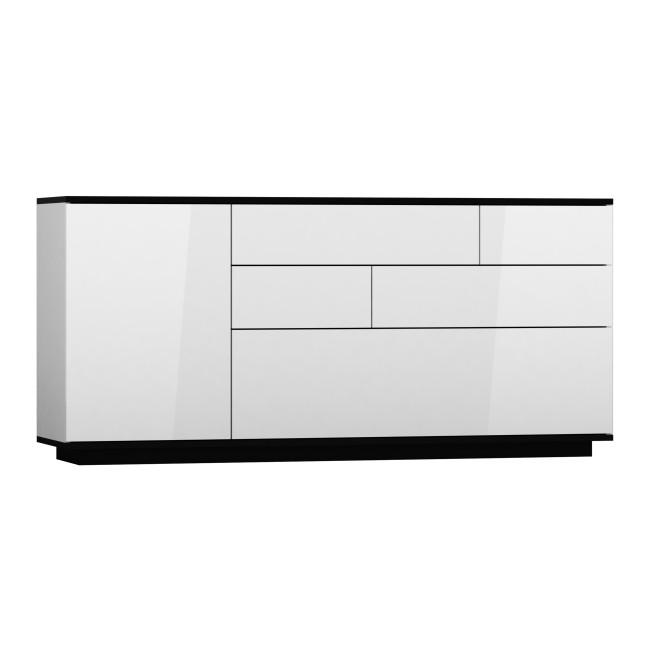 Komoda AGAT  biała / czarna 170/44/80 fronty połysk