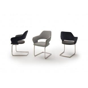 Krzesło CASTLE S tkanina dwa kolory, płoza stal szlachetna