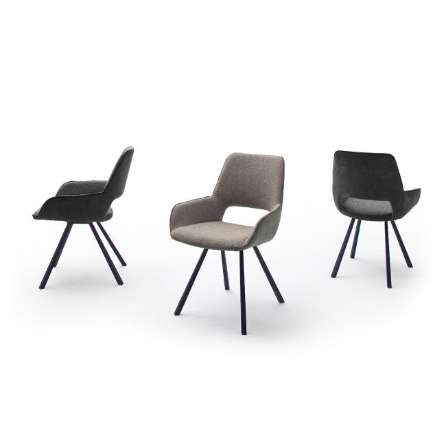 Krzesło PANORAMA tkanina dwa kolory, nogi antracyt mat