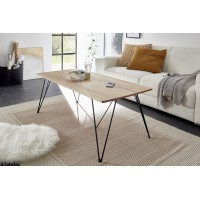 Stolik BLANCA drewno dębowe plus metal 120/60/46 cm
