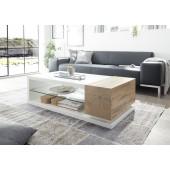 Stolik kawowy MANILA półka szklana, lakier biały mat + folia dąb 120/63/36 cm