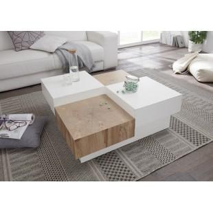 Stolik kawowy PASJA  lakier biały mat + folia dąb 90/90/32 cm