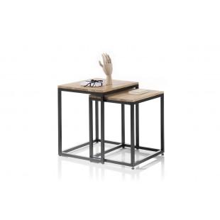 Zestaw dwóch stolików AURA dąb sękaty olejowany plus metal