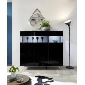 Włoska komoda 3 drzwi AMOR czarna 138/133/50 cm