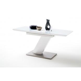 Stół rozkładany GALIA lak biały połysk + szkło 120 do 160