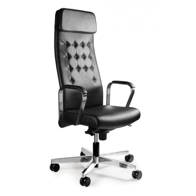 Fotel biurowy  ARRAS ekoskóra lub skóra naturalna czarny