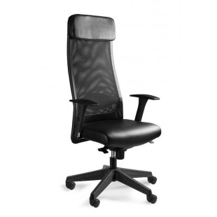 Fotel biurowy  ARRAS SOFT ekoskóra lub skóra naturalna czarny