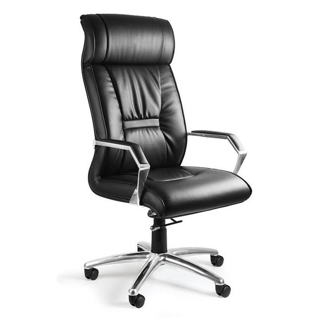 Fotel biurowy CELIA ekoskóra lub skóra naturalna czarny