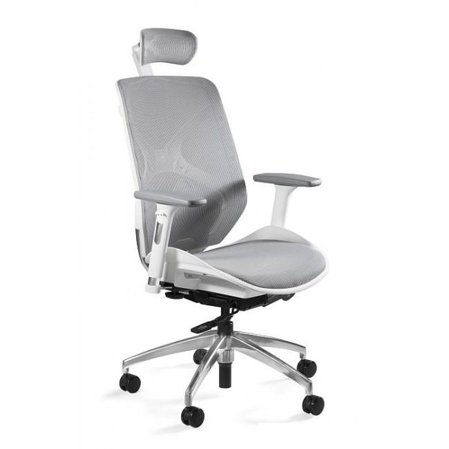 Fotel biurowy ERGO biało/szary siatka