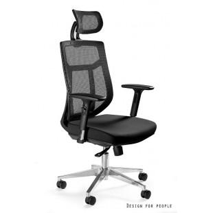 Fotel biurowy ERGO biało/szary tkanina