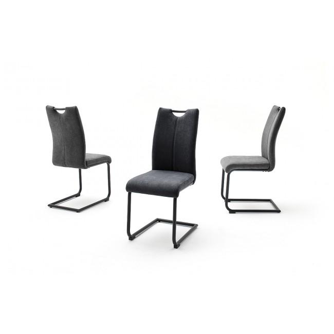 ADRIANA krzesło płoza lakier czarny mat, dwa kolory tkaniny