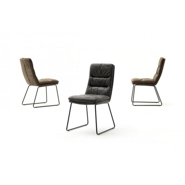 MISTER krzesło stelaż ramowy lakier czarny mat, dwa kolory tkaniny