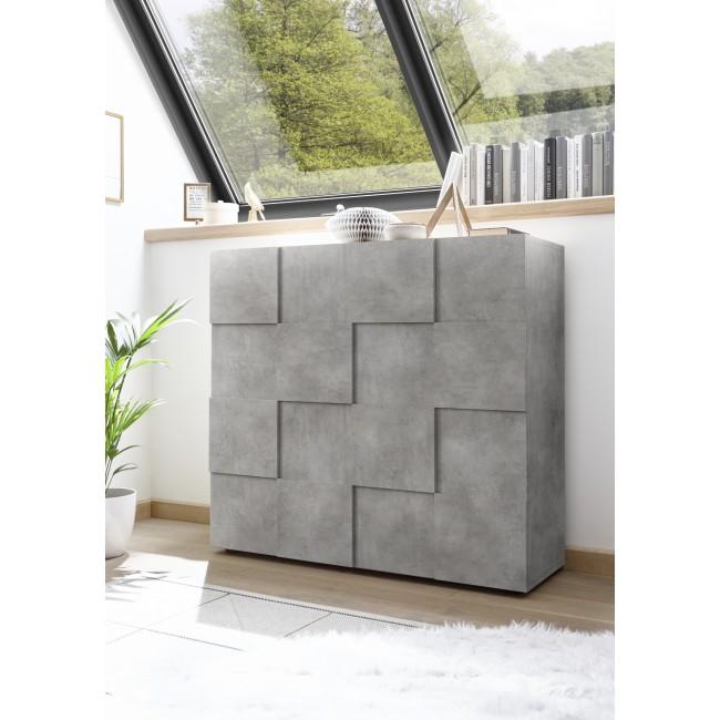 SINIORA włoska komoda wysoka optyka betonu 121 / 42 / 111 cm