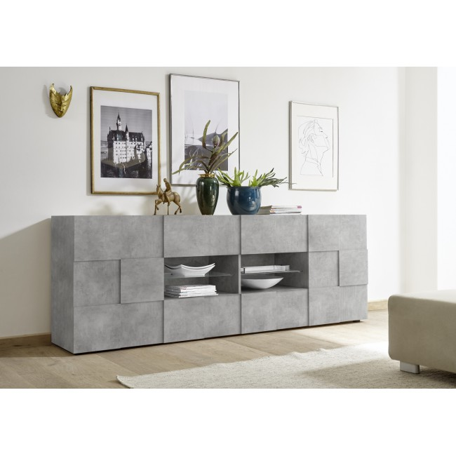 SINIORA włoska komoda optyka betonu 241 / 43 / 84 cm