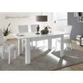 MIRON stół z wkładem lakier biały połysk  137-185 / 90 / 79  cm